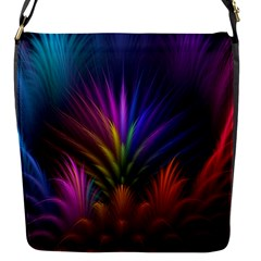 Colored Rays Symmetry Feather Art Flap Messenger Bag (S)