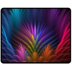 Colored Rays Symmetry Feather Art Double Sided Fleece Blanket (Medium)