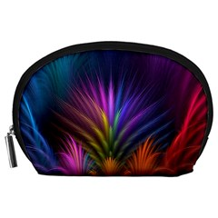 Colored Rays Symmetry Feather Art Accessory Pouches (Large)