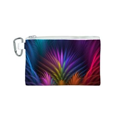 Colored Rays Symmetry Feather Art Canvas Cosmetic Bag (S)