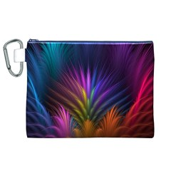 Colored Rays Symmetry Feather Art Canvas Cosmetic Bag (XL)