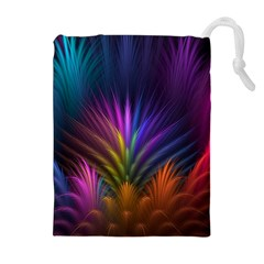 Colored Rays Symmetry Feather Art Drawstring Pouches (Extra Large)