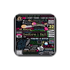 Book Collage For Before I Fall Rubber Coaster (Square)