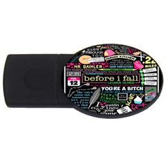 Book Collage For Before I Fall USB Flash Drive Oval (1 GB)