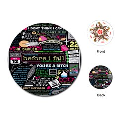 Book Collage For Before I Fall Playing Cards (Round)