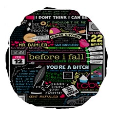 Book Collage For Before I Fall Large 18  Premium Flano Round Cushions
