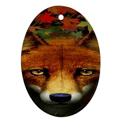 Fox Oval Ornament (Two Sides)