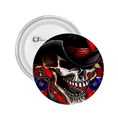 Confederate Flag Usa America United States Csa Civil War Rebel Dixie Military Poster Skull 2.25  Buttons