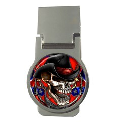Confederate Flag Usa America United States Csa Civil War Rebel Dixie Military Poster Skull Money Clips (Round)