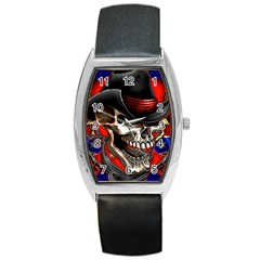 Confederate Flag Usa America United States Csa Civil War Rebel Dixie Military Poster Skull Barrel Style Metal Watch