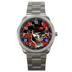 Confederate Flag Usa America United States Csa Civil War Rebel Dixie Military Poster Skull Sport Metal Watch