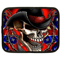 Confederate Flag Usa America United States Csa Civil War Rebel Dixie Military Poster Skull Netbook Case (Large)