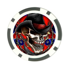 Confederate Flag Usa America United States Csa Civil War Rebel Dixie Military Poster Skull Poker Chip Card Guard (10 pack)