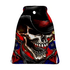 Confederate Flag Usa America United States Csa Civil War Rebel Dixie Military Poster Skull Bell Ornament (Two Sides)
