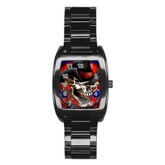 Confederate Flag Usa America United States Csa Civil War Rebel Dixie Military Poster Skull Stainless Steel Barrel Watch