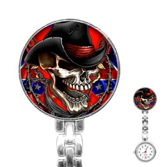 Confederate Flag Usa America United States Csa Civil War Rebel Dixie Military Poster Skull Stainless Steel Nurses Watch