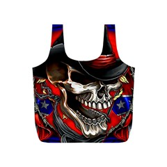 Confederate Flag Usa America United States Csa Civil War Rebel Dixie Military Poster Skull Full Print Recycle Bags (S)