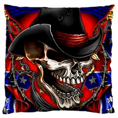 Confederate Flag Usa America United States Csa Civil War Rebel Dixie Military Poster Skull Large Flano Cushion Case (Two Sides)