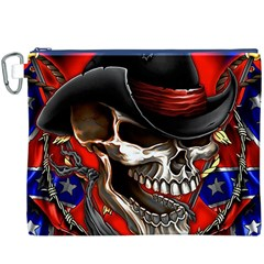 Confederate Flag Usa America United States Csa Civil War Rebel Dixie Military Poster Skull Canvas Cosmetic Bag (XXXL)
