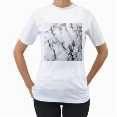 Marble Pattern Women s T-Shirt (White) (Two Sided)