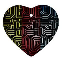 Circuit Board Seamless Patterns Set Ornament (Heart)