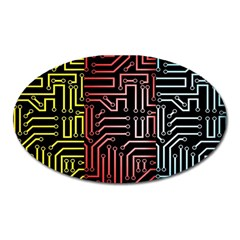 Circuit Board Seamless Patterns Set Oval Magnet