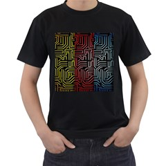 Circuit Board Seamless Patterns Set Men s T-Shirt (Black) (Two Sided)