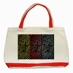 Circuit Board Seamless Patterns Set Classic Tote Bag (Red)