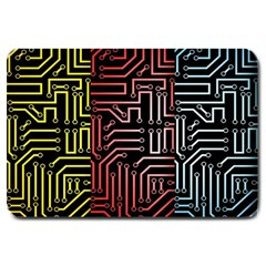 Circuit Board Seamless Patterns Set Large Doormat