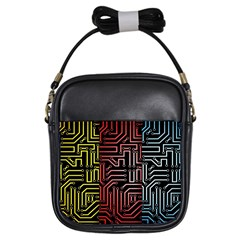 Circuit Board Seamless Patterns Set Girls Sling Bags