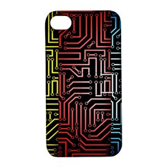 Circuit Board Seamless Patterns Set Apple iPhone 4/4S Hardshell Case with Stand