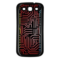 Circuit Board Seamless Patterns Set Samsung Galaxy S3 Back Case (Black)