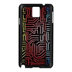 Circuit Board Seamless Patterns Set Samsung Galaxy Note 3 N9005 Case (Black)