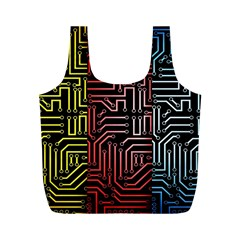 Circuit Board Seamless Patterns Set Full Print Recycle Bags (M)