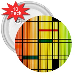Line Rainbow Grid Abstract 3  Buttons (10 pack)