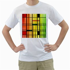 Line Rainbow Grid Abstract Men s T-Shirt (White) (Two Sided)