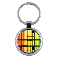 Line Rainbow Grid Abstract Key Chains (Round)
