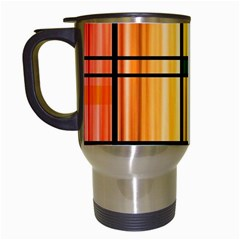 Line Rainbow Grid Abstract Travel Mugs (White)
