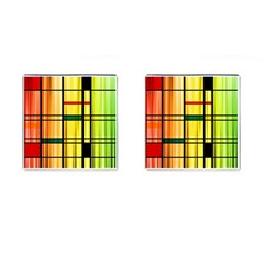 Line Rainbow Grid Abstract Cufflinks (Square)