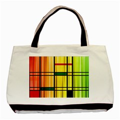 Line Rainbow Grid Abstract Basic Tote Bag (Two Sides)