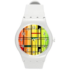 Line Rainbow Grid Abstract Round Plastic Sport Watch (M)