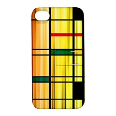 Line Rainbow Grid Abstract Apple iPhone 4/4S Hardshell Case with Stand