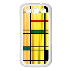 Line Rainbow Grid Abstract Samsung Galaxy S3 Back Case (White)
