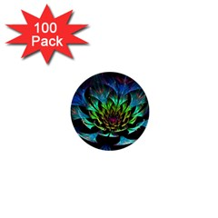 Fractal Flowers Abstract Petals Glitter Lights Art 3d 1  Mini Buttons (100 pack)