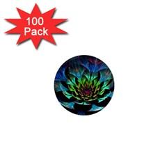 Fractal Flowers Abstract Petals Glitter Lights Art 3d 1  Mini Magnets (100 pack)