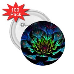 Fractal Flowers Abstract Petals Glitter Lights Art 3d 2.25  Buttons (100 pack)