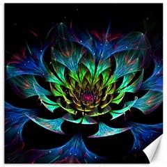 Fractal Flowers Abstract Petals Glitter Lights Art 3d Canvas 20  x 20
