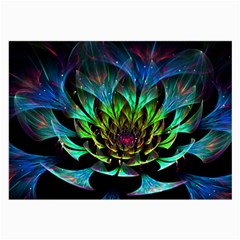 Fractal Flowers Abstract Petals Glitter Lights Art 3d Large Glasses Cloth