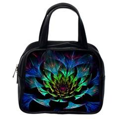 Fractal Flowers Abstract Petals Glitter Lights Art 3d Classic Handbags (One Side)