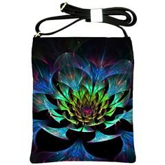 Fractal Flowers Abstract Petals Glitter Lights Art 3d Shoulder Sling Bags